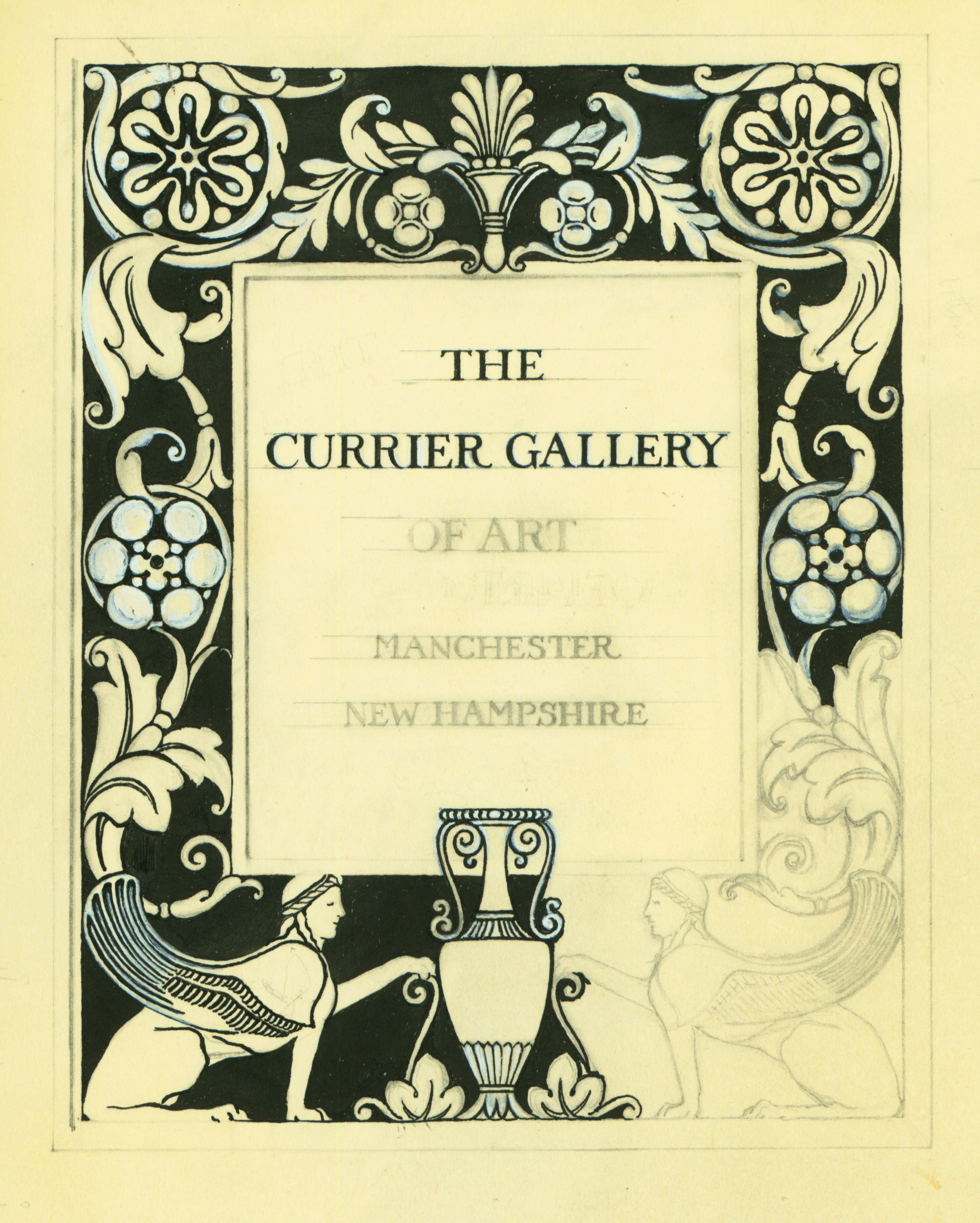 Scan of bookplate for the Currier Gallery of Art, in progress.