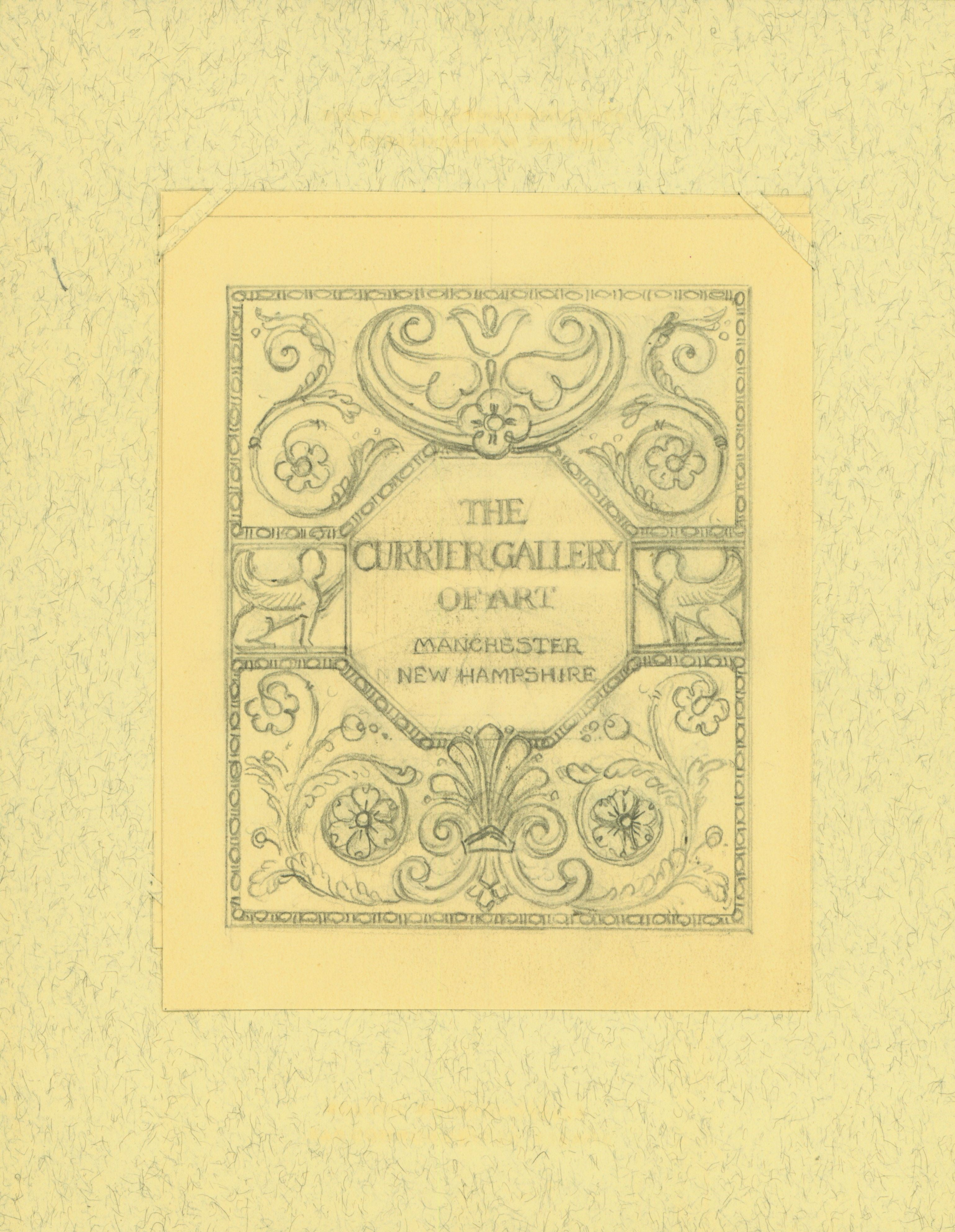 Scan of sketch of bookplate for the Currier Gallery of Art.