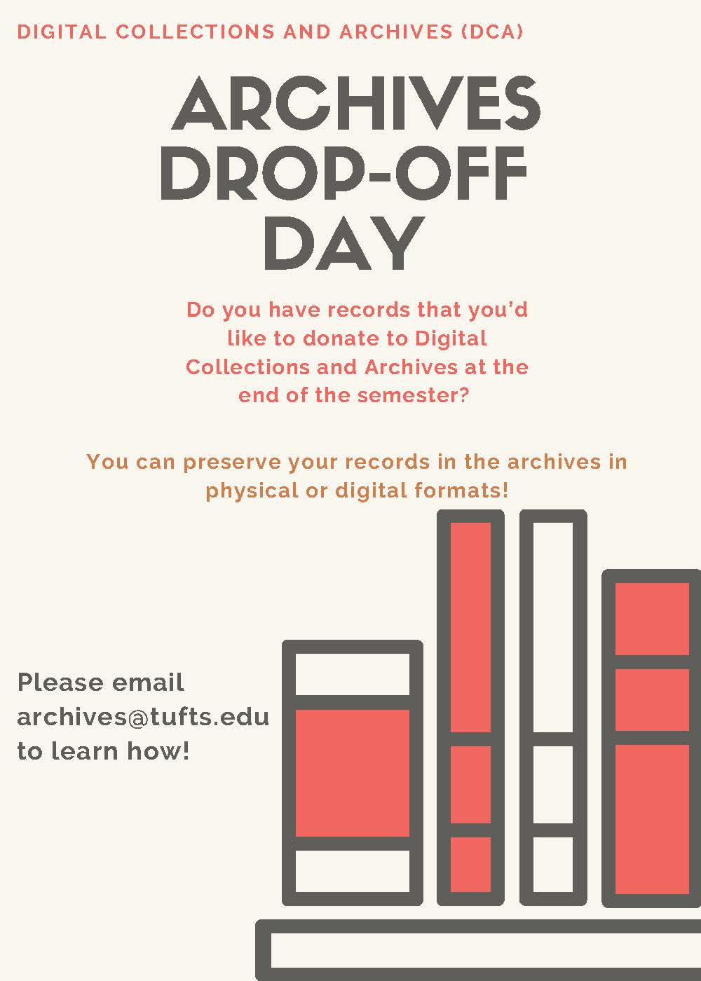 Color flyer describing Archives Drop-Off Day 2020