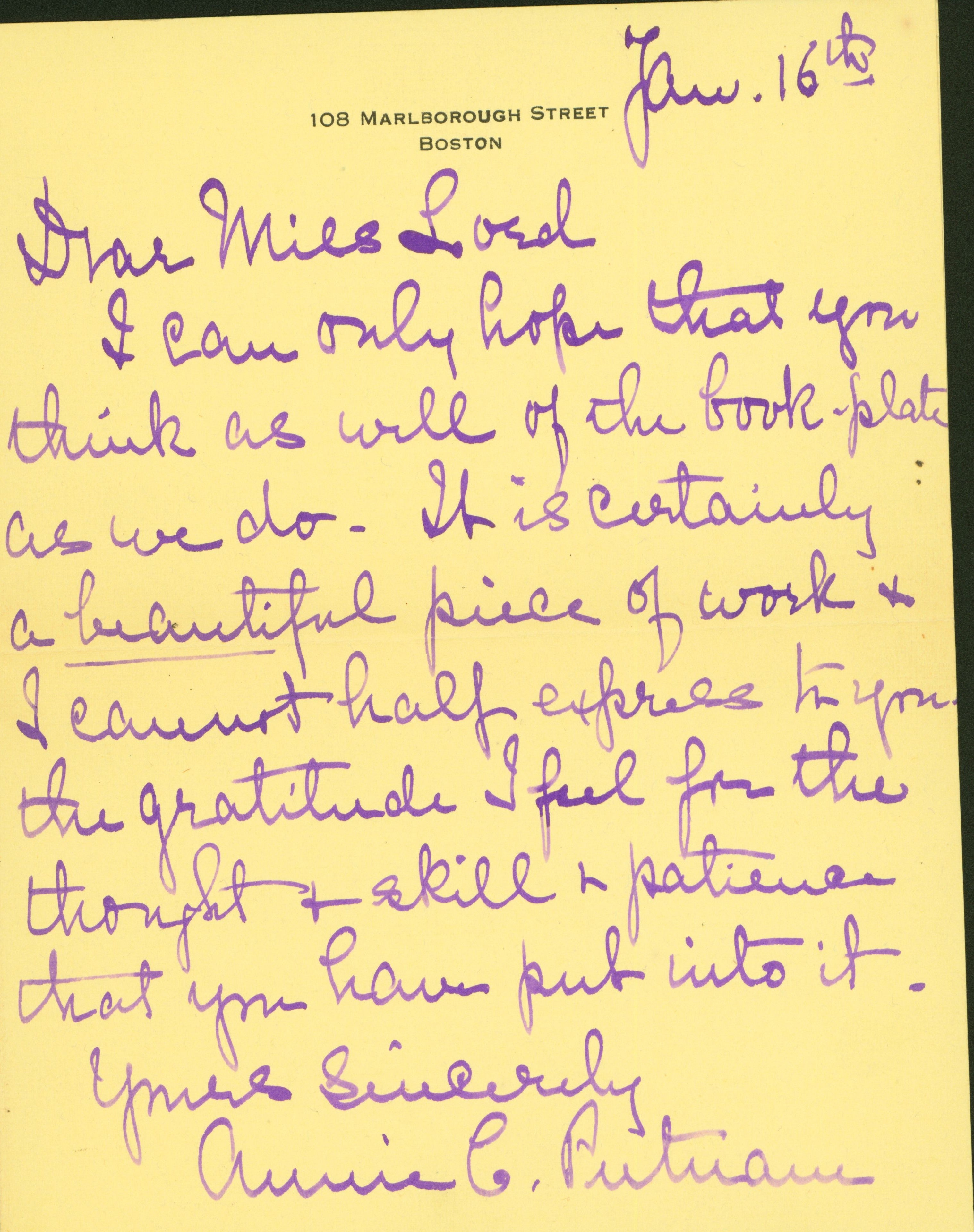 Letter to Elizabeth Lord from Annie Putnam, expressing gratitude for and appreciation of bookplate.