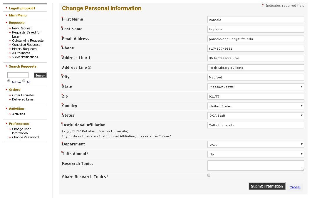 Change User Information form