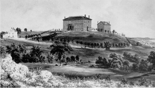 Black and white image of a view of Tufts College during the Civil War (Undated)